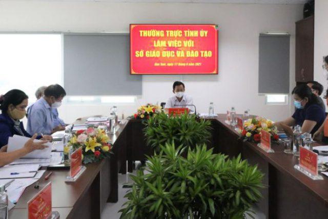 Thường trực Tỉnh ủy làm việc với Sở Giáo dục và Đào tạo tỉnh